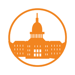 An orange circle containing an orange graphic of the MSU Union.