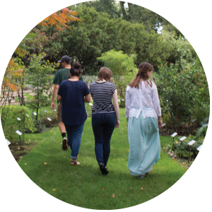 A photo of three female students and one male student walking through the W.J. Beal Botanical Garden in early fall.