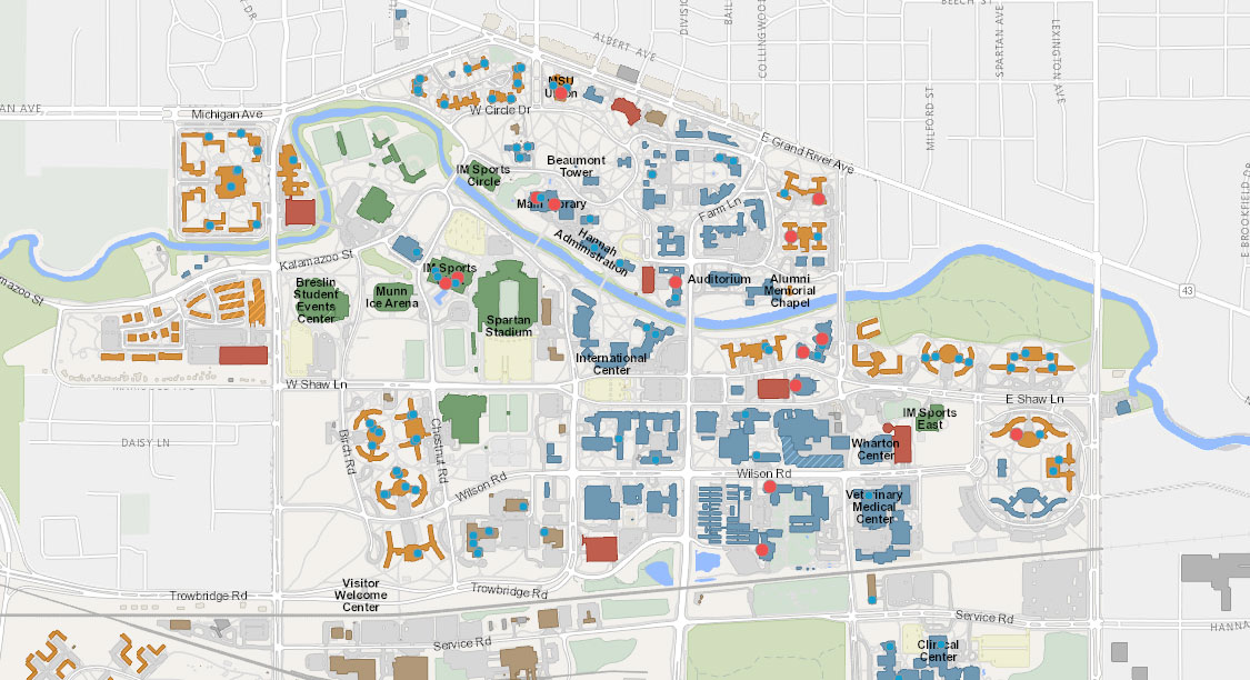 A map of campus showing high impact areas with red circles where IPF is prioritizing installation of new filtered water stations.