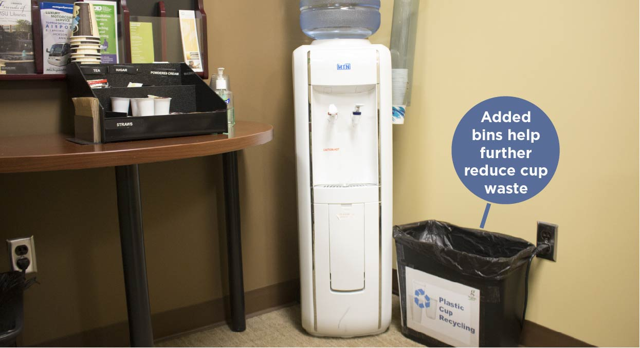 A photo of the added recycling bins near water coolers to further reduce plastic cup waste in the Computer Center.