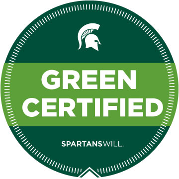 "A circular graphic reading ""Green Certified."""