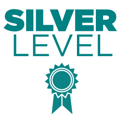 Turquoise text reading 'SILVER LEVEL' with an infographic of a turquoise ribbon below.